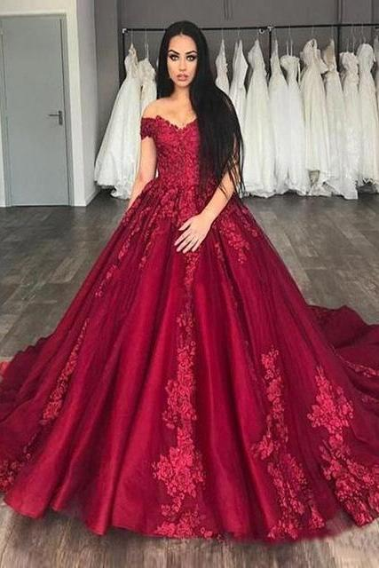 Red Prom Dresses,Off The Shoulder Prom Dress,Prom Dress Long 2019,Special Occasion Dress,Formal Gowns