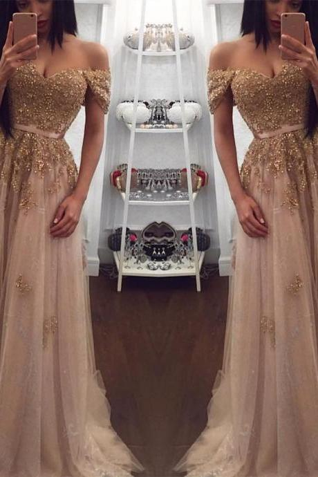 Champagne Gold Prom Dresses,Prom Dress 2019,Off The Shoulder Prom Dress,Evening Gowns,Banquet Dress