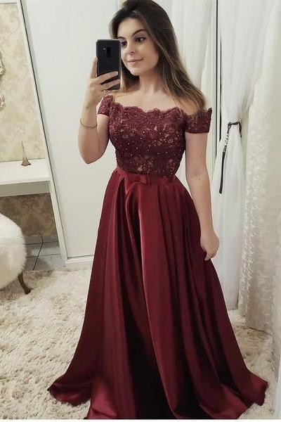 Burgundy Off The Shoulder Prom Dresses Floor Length 2019 A Line Evening Gowns Formal Women Party Dress