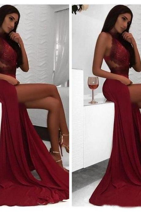 Burgundy Prom Dress,Prom Dresses 2019,Side Split Formal Dress,Evening Gowns,Formal Dress,Imported Party Dress