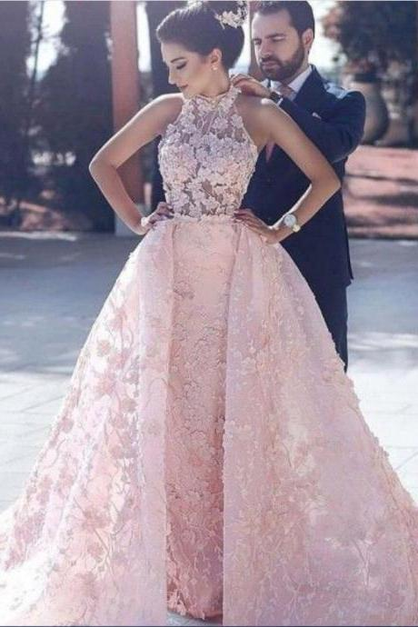 Pink Lace Prom Dress,Prom Dresses 2019,Detachable Train Prom Dress,Evening Gowns,Formal Dress,Party Dress