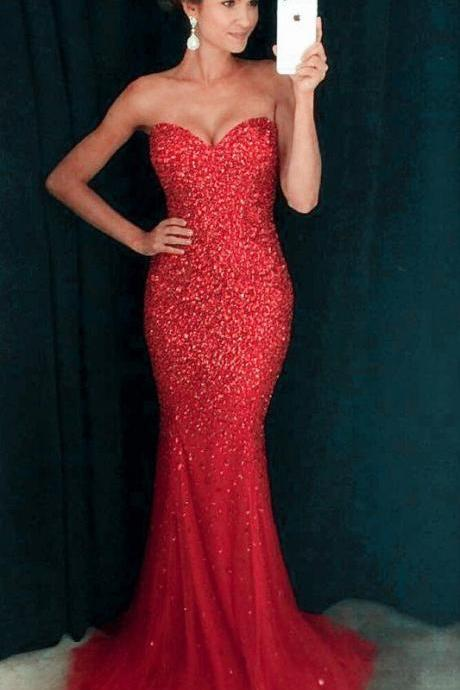 Red Mermaid Prom Dress,Beaded Crystal Prom Dress,Evening Gowns,Formal Dress,Pageant Dress,Prom Dress 2019