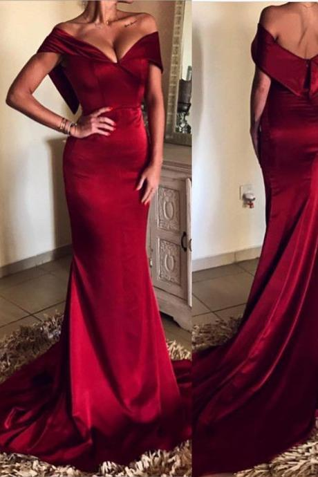 Dark Red Prom Dress,Mermaid Prom Dresses,Off The Shoulder Prom Dress,Evening Gowns,Pageant Dress,Formal Dress