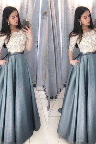 Two Piece Prom Dresses,Prom Dress With Sleeves 2019,Evening Gowns,Formal Dress,Graduation Dress,Pageant Dress