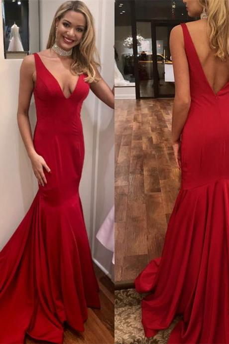 Red Mermaid Prom Dresses,Deep V Neck Prom Dress,Evening Gowns,Formal Dress,Banquet Dress,Pageant Dress,Prom Dress 2019