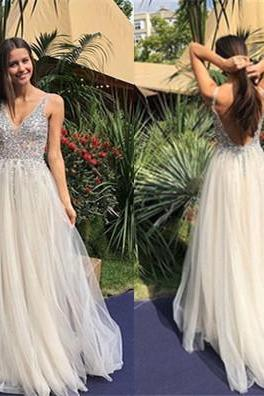 Light Champagne Prom Dresses,Beaded Prom Dress,V Neck Prom Dress 2019,Evening Gowns,Formal Dress,Pageant Dress