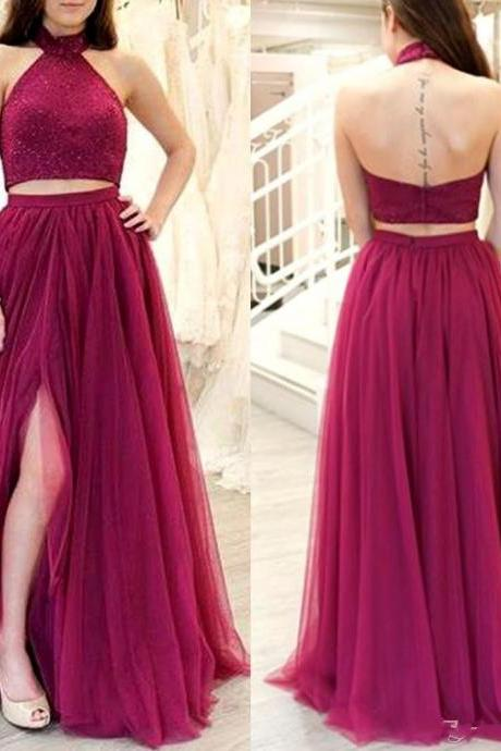 Two Piece Prom Dresses,Burgundy Prom Dress 2019,Evening Gowns,Formal Dress,Banquet Dress,Pageant Dress