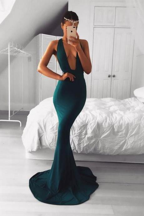 Dark Green Prom Dresses,Mermaid Prom Dress,Long Prom Dress 2019,Formal Evening Gowns,Special Occasion Dress,V Neck Prom Dress