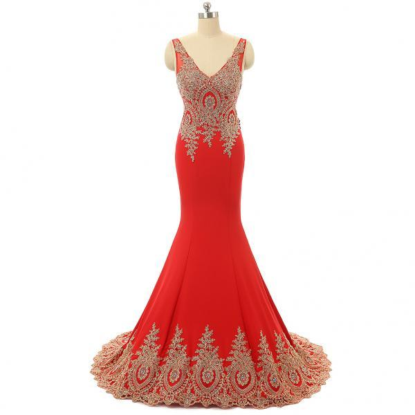 African Prom Dresses,Mermaid Evening Dresses Arabic,V Neck Formal Dress,Party Gowns 2018