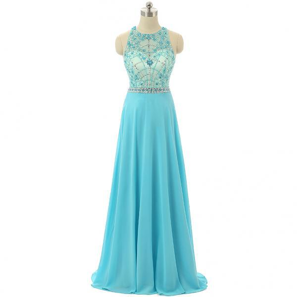 Sky Blue Beaded Prom Dresses,Beading Formal Dresses,Sheer Evening Gowns 2018