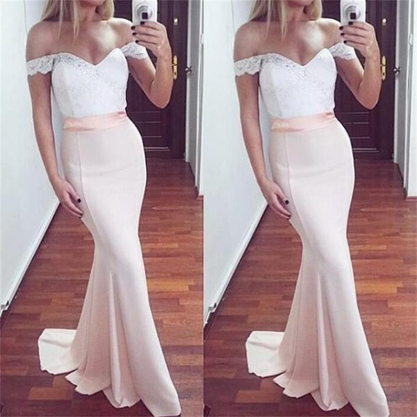 Lace Prom Dress, Off The Shoulder Satin Prom Dress, Formal Mermaid Evening Gowns,White Prom Dress