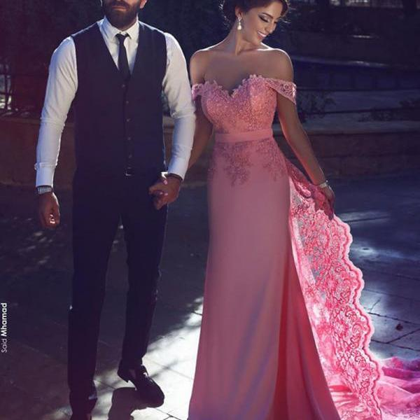 2018 Off The Shoulder Prom Dress,Pink Mermaid Prom Dress,Lace Prom Dress,Formal Party Gowns