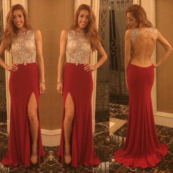 Burgundy Mermaid Long Prom Dress,Sexy High Split Backless Evening Dress,Custom Made Beading Prom Dress