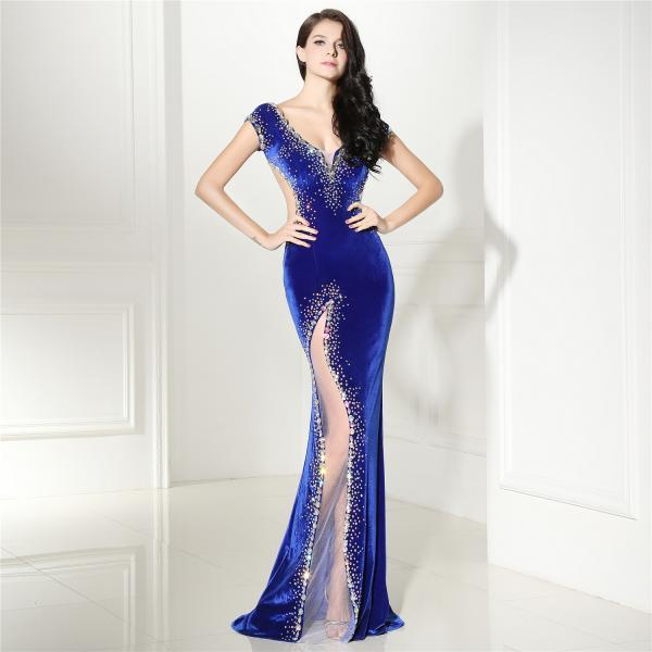 Royal Blue Mermaid Prom Dresses For Women 2018 Open Back Evening Gowns Formal Dress