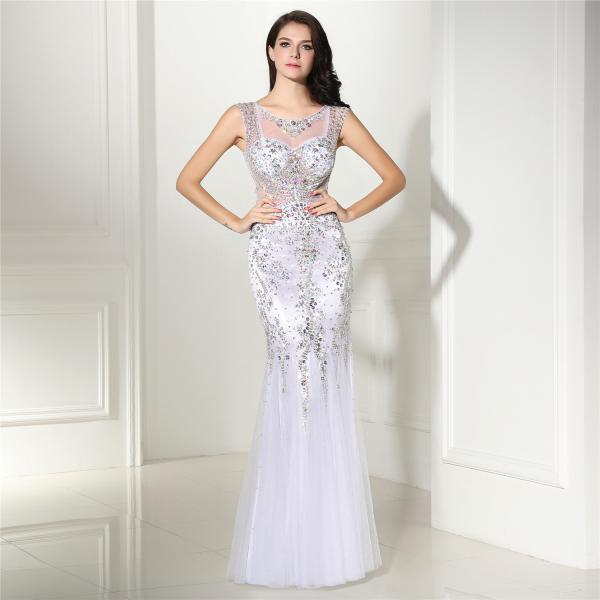 White Mermaid Evening Dresses For Women 2018 Beaded Prom Dress Formal Gowns