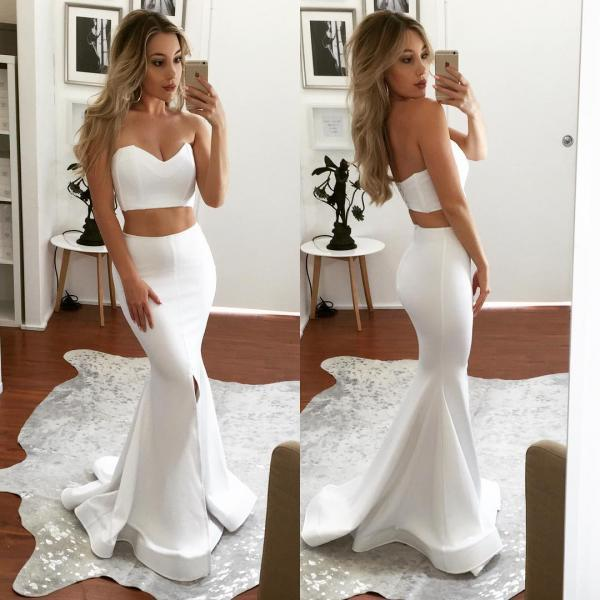 White Prom Dress, Two Piece Satin Prom Dress,Sweetheart Mermaid Sleeveless Evening Gowns 2018