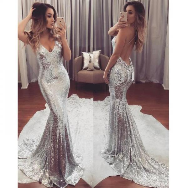 Sexy Deep V-neck Backless Mermaid Sleeveless Prom Dress,Custom Made Silver Sequins Formal Evening Gowns,Party Dresses 2018
