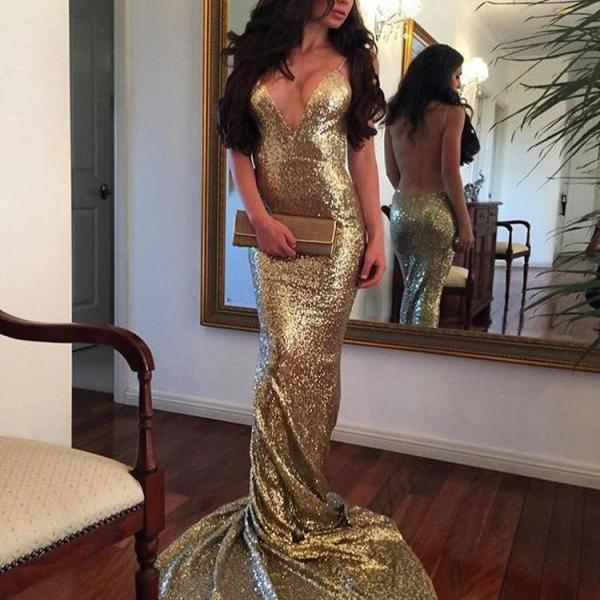 Sexy Deep V-neck Backless Mermaid Sleeveless Prom Dress,Pretty Gold Sequins Formal Evening Gowns,Party Dresses 2018