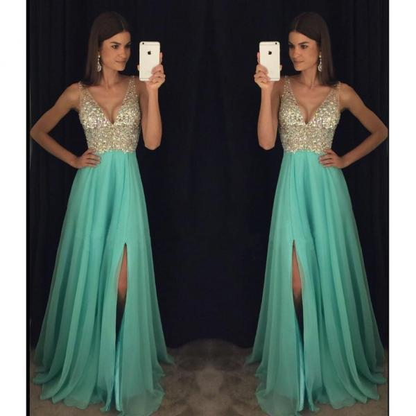Charming Beading Long Prom Dress,Sexy Deep V-neck Split Sleeveless Prom Dress, Formal Evening Gowns,Party Dresses 2018
