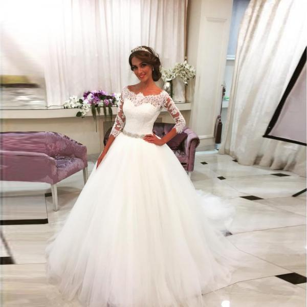 Lace Ball Gown Wedding Drsses,Long Sleeve Wedding Dress,Sheer Bridal Gowns,Bridal Dress 2018