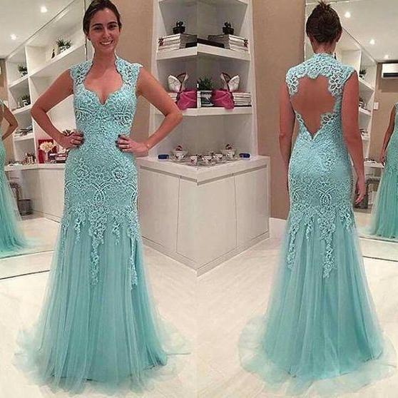 Mint Green Lace Prom Dresses 2018,Floor Length Evening Gowns,Open Back Formal Party Dress,Banquet Dress