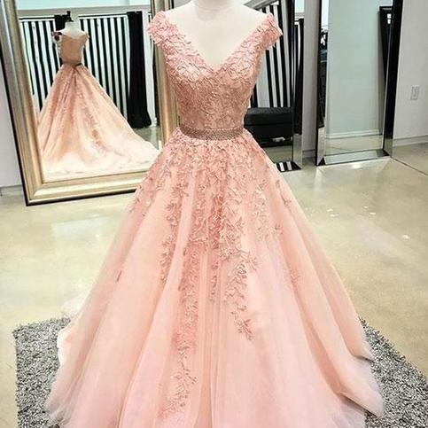 Blush Pink Prom Dresses,Lace Prom Dress 2018,Special Occasion Dresses,A line Evening Gowns,Formal Party Dress