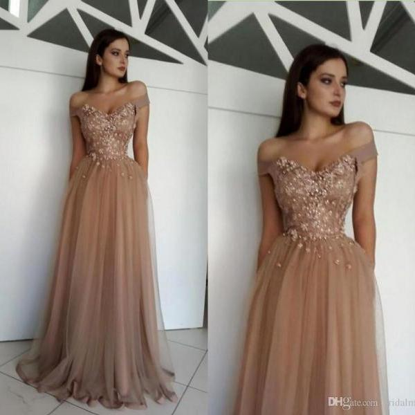 Off The Shoulder Prom Dresses,Dark Champagne Prom Dress,Formal Women Dress,A Line Party Gowns