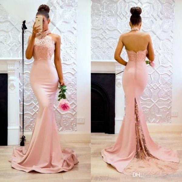 Backless Prom Dresses,Mermaid Evening Dress,Halter Lace Prom Dress 2018,Special Occasion Dress,Party Gowns