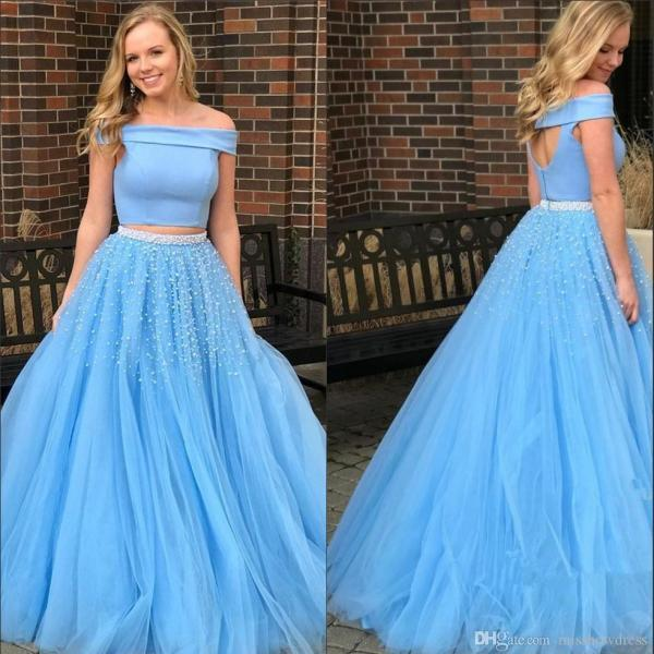 Sky Blue Two Piece Prom Dresses,Prom Dress 2018,A Line Evening Gowns,Special Occasion Dresses