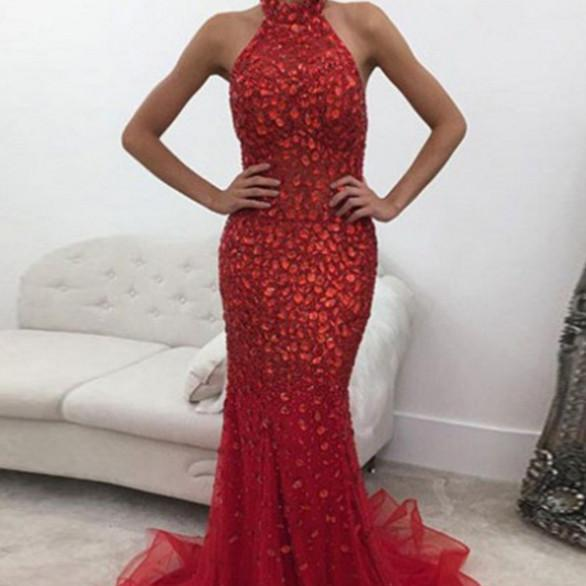 Luxury Beaded Crystal Prom Dresses,Prom Dress 2018,Mermaid Evening Dress,Formal Party Gowns,Special Occasion Dresses
