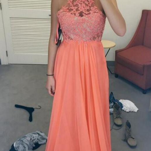 Coral Lace Prom Dresses,Formal Evening Dress,Graduation Gowns,Special Occasion Dresses,Chiffon Prom Dress 2018