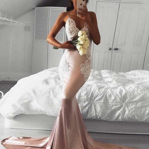 Champagne Mermaid Prom Dresses,Backless Prom Dress 2019,Evening Gowns,Formal Dress,Banquet Dress,Pageant Dress